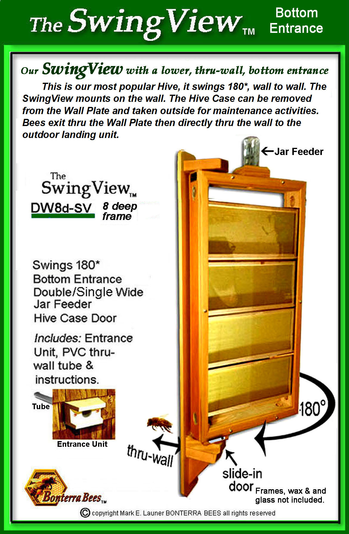 SwingView 8 deep frame Hive with a bottom entrance: DW8d-SV